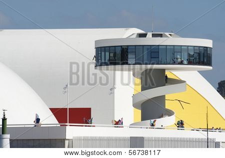 AVILES, SPAIN - AUGUST 10: Niemeyer Center on August 10, 2011 in Aviles, Spain. Designed by Oscar Niemeyer, the Niemeyer Center offers a program dedicated to the most diverse art and cultural events.
