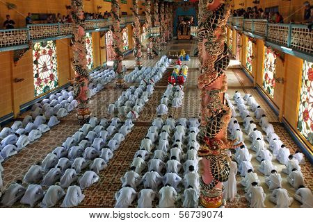 Monks Prays In Cao Dai Temple.  Tay Ninh. Vietnam