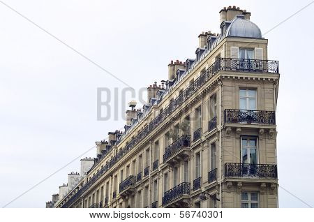 view of the facade of a typical building in the Rue Lafayette, Paris, France