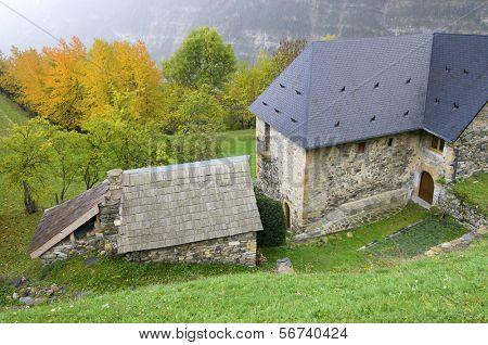 typical  Pyrenean stone house in the town of Espierba,  Valle de Pineta, Pyrenees, Huesca,  Aragon, Spain