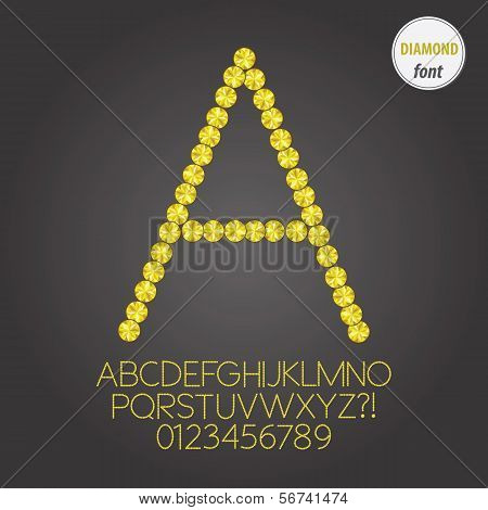 Yellow Diamond Alphabet And Digit Vector