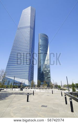 MADRID, SPAIN - JULY 29: CTBA on July 29, 2009 in Madrid: To the left of the Glass Tower designed by architect Cesar Pelli Tower and right Space Tower designed by architect Henry N. Cobb.