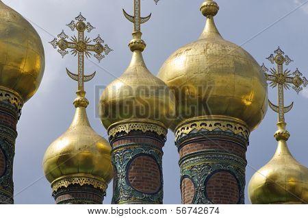 voorhoede van de koepels van de kerk van de afzetting van de mantel, Kremlin, Moskou, Rusland