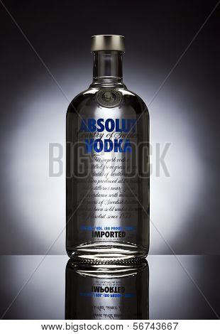 Ratingen, Germany - June 16, 2011: Absolut Vodka bottle in studio setup. Absolut Vodka is produced near A?hus in Sweden. Since July 2008 the company has been owned by the French firm Pernod Ricard.