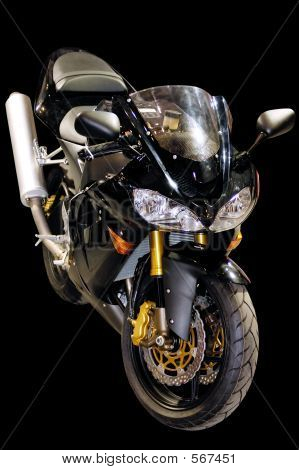 Black Racing Motorcycle Isolated
