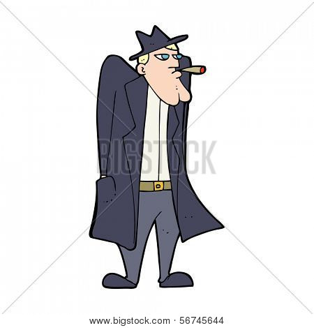 cartoon man in hat and trenchcoat