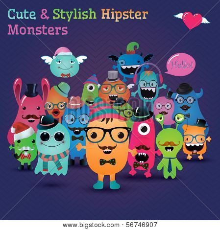 Cute and Stylish Hipster Monsters.
