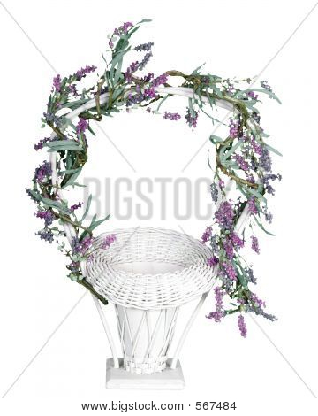 Isolated Wedding Basket With Flowers