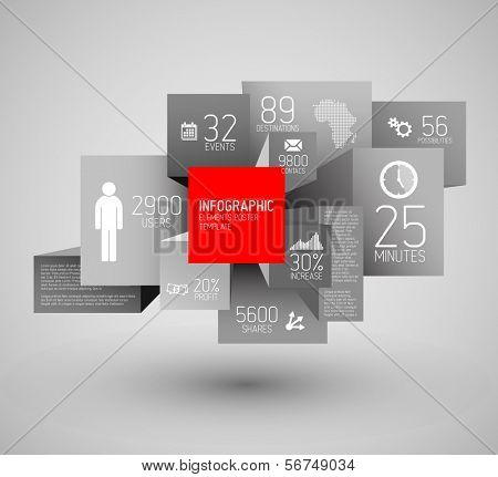 Vector abstract squares and cubes background illustration / infographic template with place for your content