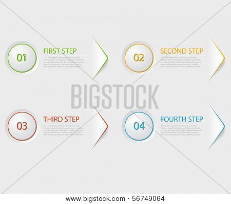 One two three four - colorful flat vector progress icons for four steps