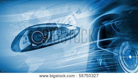 Schließen Sie herauf Bild der Autoscheinwerfer. Innovation-Konzept