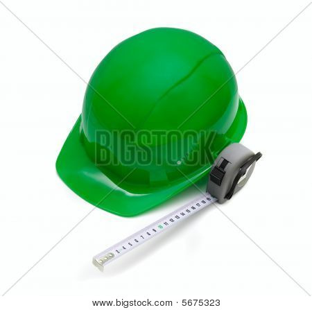 Safety green helmet and measuring tape