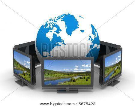 Global Telecommunication On White Background. Isolated 3D Image