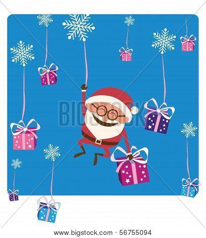 Santa Falling with Christmas Gifs