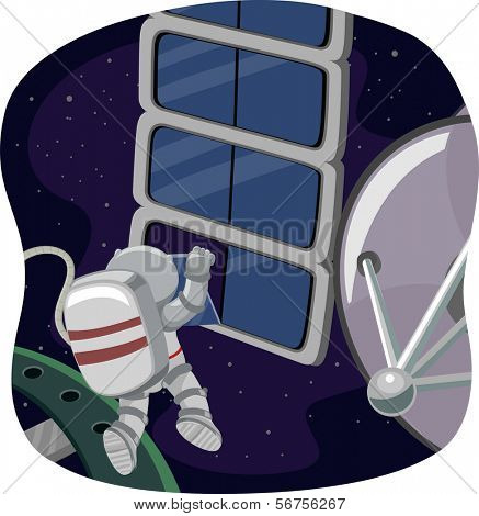 Illustration of an Astronaut Doing Some Space Work