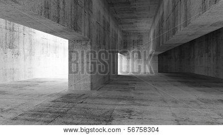Abstract Empty Gray Concrete Interior. 3D Illustration