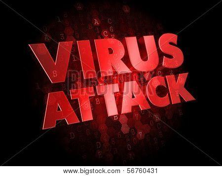 Virus Attack on Dark Digital Background.