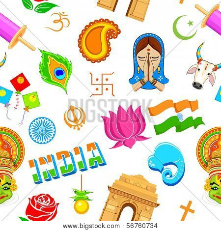 illustration of seamless Indian pattern with colorful icon