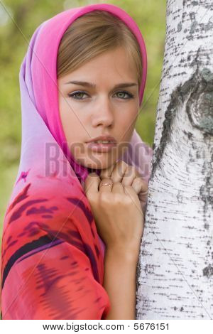 Young Woman In Headscarf. Alenushka.