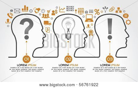 Background infographics with human heads, business icons and text. Business concept - the problem, the idea and success. The file is saved in the version AI10 EPS. This image contains transparency.