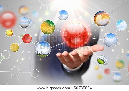 Items and icons on human hand. Global technologies