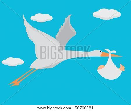 Stork with baby bundle