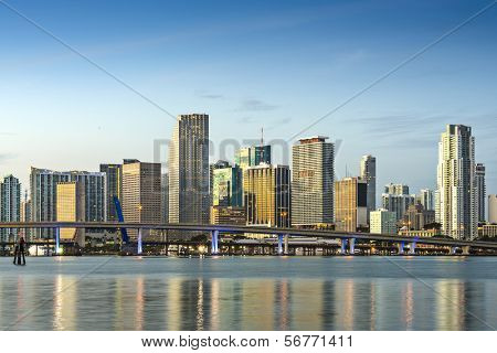 Skyline von Miami, Florida, USA.