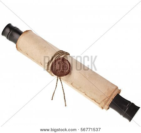 old rolled paper with a wax seal isolated on a white background