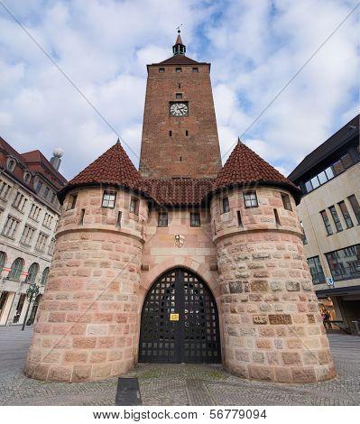 Nuremberg, Medieval White Tower Gate, Bavaria, Germany