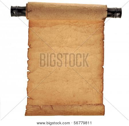 Antique scroll  paper isolated on white background