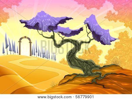 Landscape with tree and arch. Vector illustration
