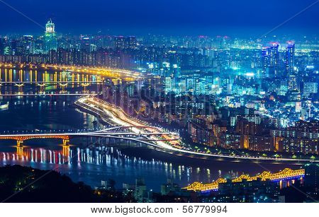 Seoul skyline at night