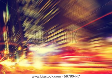 Abstract image of night lights in the city with motion blur.