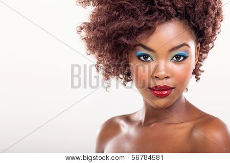 young black woman beauty shot on plain background