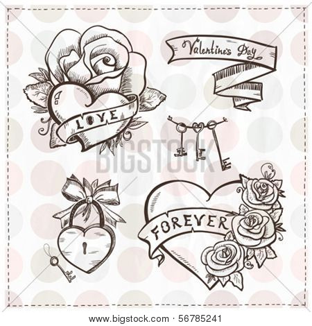 Old school graphic hearts with roses and ribbons. Eps10