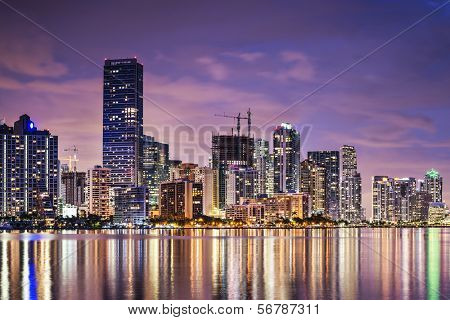 Skyline of Miami, Florida, USA over Biscayne Bay.
