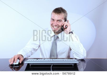 Cheerful Corporate Man On The Phone