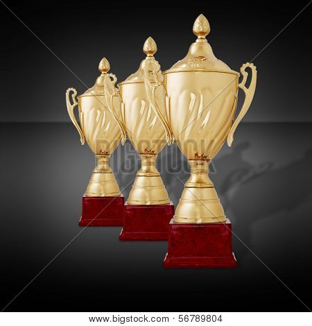 Receding Row Of Gold Trophies