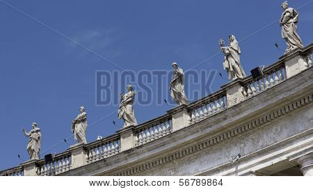 Detail Of St Peter's Square Saints, Rome Italy