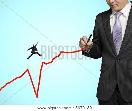 Businessman Jumping Over Subsidence Line