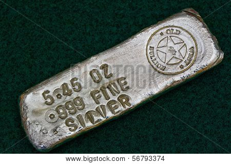 Stamped Silver Bullion Bar - Poured Ingot