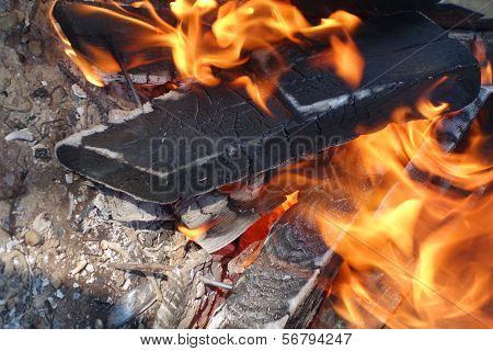 Burning Woods In A Brazier