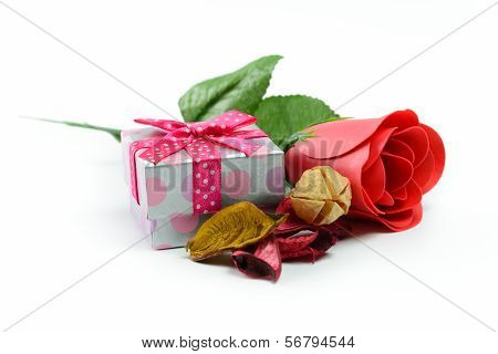 Gift And Red Rose