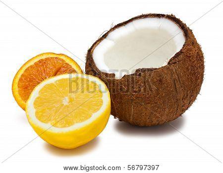 Halved Orange, Coconut And Lemon Isolated On White