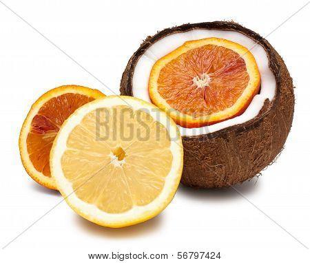 Orange, Coconut And Lemon Isolated On White