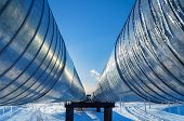 stock photo of pipeline  - Pipeline on a background of blue sky - JPG