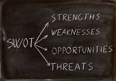 picture of swot analysis  - swot analysis business strategy management process in a blackboard - JPG