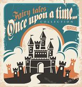 foto of royal palace  - Vintage fairy tales vector poster design - JPG