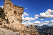 stock photo of martello  - The original Mortello Tower at Punta Mortella on the coast of the Desert Des Agriates near St Florent Corsica - JPG