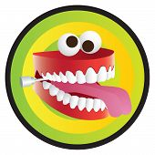 stock photo of wacky  - Wacky Chattering set of Joke Teeth on a gradient background - JPG